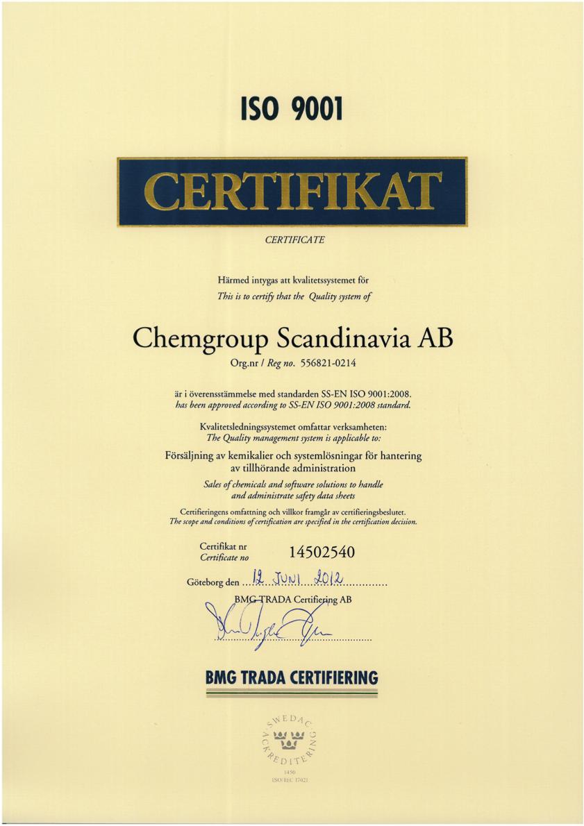 Chemgroup Scandinavia AB 9001